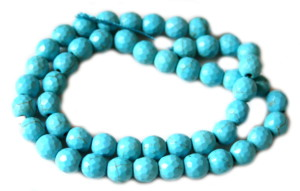 Blue howlite bead string, round, faceted, 8mm, 40cm