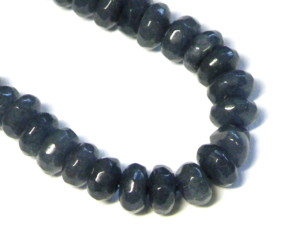Sapphire colored Jadeite bead string, 4x6mm, rondelle, faceted, 40cm