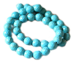 Blue howlite bead string, round, faceted, 10mm, 40cm