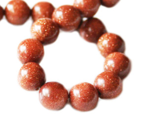 Goldstone bead string, round, 10mm, 40cm