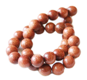 Goldstone bead string, round, 12mm, 40cm