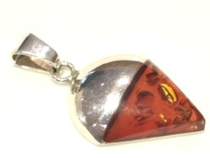 Baltic amber in sterling silver pendulum pendant 40mm with bail