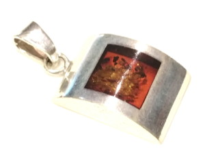 Baltic amber in sterling silver pendant 35mm