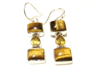 Citrine and tigers eye earring pair 42 cm