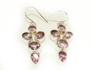 Amethyst earring pair in 925 silver 34mm