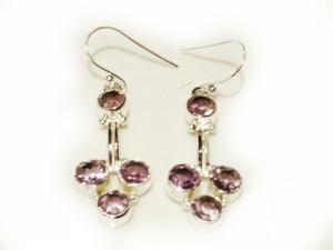 Modern amethyst earring pair in 925 silver 32mm