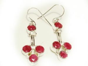 Modern ruby earring pair in 925 silver 32mm