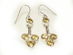 Modern Citrine earring pair in 925 silver 32mm