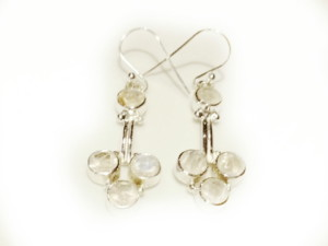Modern Moonstone earring pair in 925 silver 30mm without hook