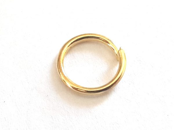 50 Gold plated jumpring in nickel silver, 7.3 OD, 5.7 ID, 0.8 thickness
