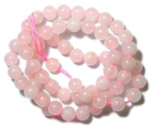 Rose quartz bead string, 6mm, round, 40cm