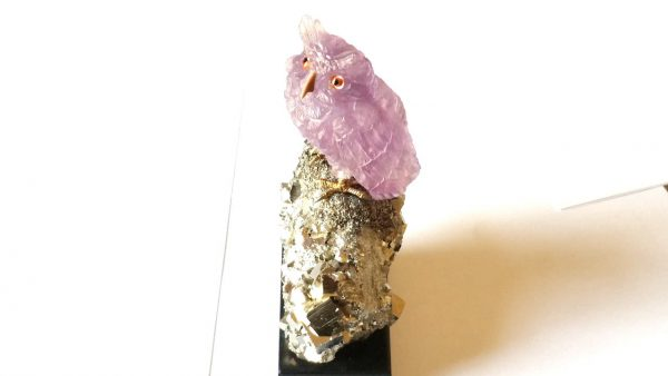 Amethyst Owl Carving on Pyrite 14.5cm height
