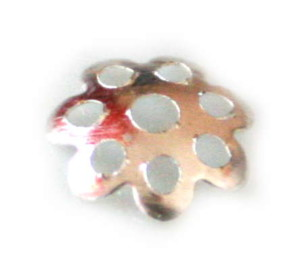 Bright silver flower bead cap, 8mm, nickel free