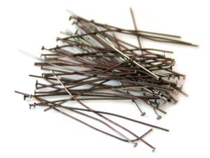 50 x head pins, gunmetal color, 50mm