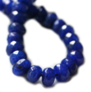 Sapphire colored Jadeite bead string, 5x8mm, Rondelle, 40cm