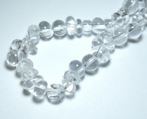 Clear Quartz Crystal Roundel Pebble Bead String 40cm