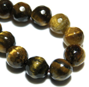 Tigers eye faceted bead string, 6mm, Round, 40cm