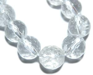 Quartz bead string, faceted, 8mm, Round, 40cm