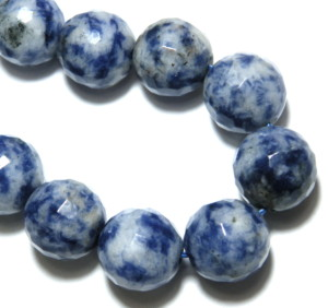 Sodalite bead string, faceted, 10mm, Round, 40cm