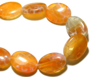 Crackled agate oval button bead string, 13x18mm, 40cm