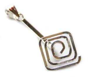 Nickel free donut bail, square spiral, bright silver, 45mm