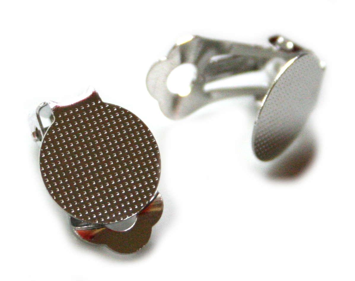 2 x Nickel free DIY clip-on earring pair, 20mm - Silver ...
