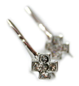 Nickel free earring pair, X-design, 22mm