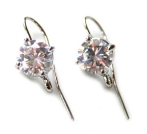 Nickel free earring pair, large rhinestone, 28mm