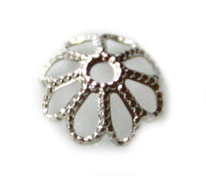 6 x Nickel free bead cap, flower design, 8mm