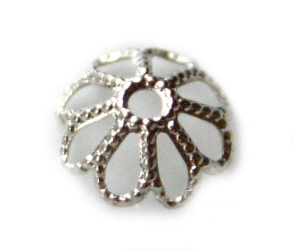 6 x Nickel free bead cap, flower design, 8mm