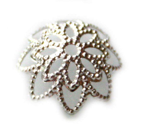 6 x Nickel free bead cap, flower design, 10mm