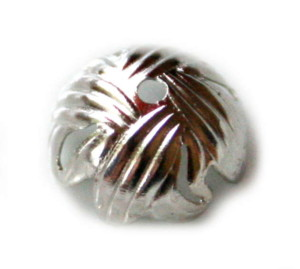 4 x Nickel free bead cap, textured design, 10mm