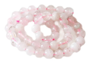Rose Quartz faceted bead string, 8mm, Round, 40cm
