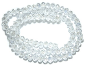 Clear glass string, 5x6mm, rondelle, 45cm