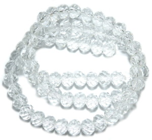 Clear glass string, 6x8mm, rondelle, 45cm