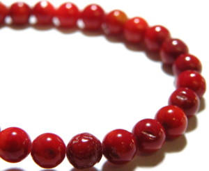 Red coral bead string, 5mm, round, 40cm