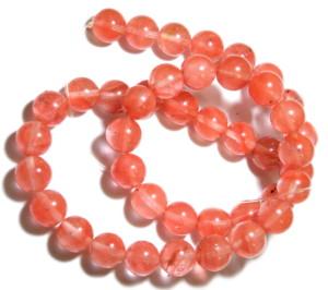 Cherry quartz bead string, 10mm, round, 40cm