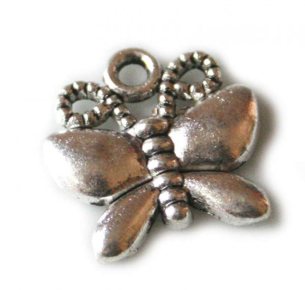 2 x Butterfly charm, 17mm