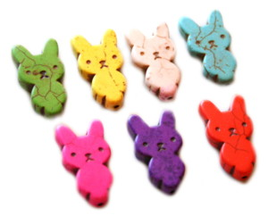 28mm Rabbit Howlite Bead Assorted Colours