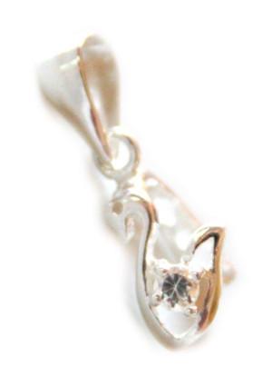 925 Silver Swan w rhinestone bail, 20mm
