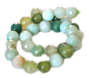 Green colored agate bead string, 12mm, faceted, 40cm