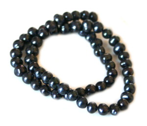 7-8mm black offround freshwater pearl string, 38cm