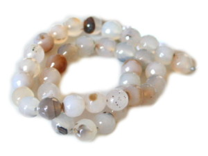 Light brown colored agate bead string, faceted, 10mm, 40cm