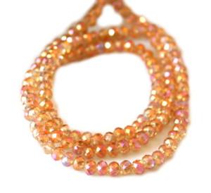 Light orange AB glass string, 4mm, rondelle, 52cm