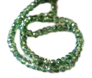 Dark green AB glass string, 5x6mm, rondelle, 45cm