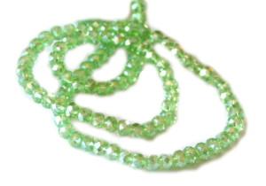 Green AB glass string, 5x6mm, rondelle, 45cm