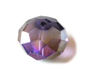 Purple AB glass rondelle bead, 18mm