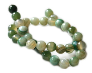 Green colored agate bead string, 10mm, 40cm