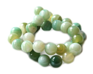 Light green colored agate bead string, 12mm, 40cm