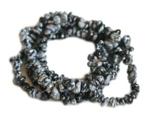 Snowflake obsidian chip string, 80cm